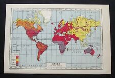 Vintage Map: Races of the World, Harmsworth's Universal Encyclopedia, 1922