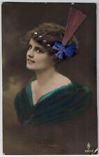 aa Edwardian Lady Add-On Collage HAT Kitch Fantasy original old c1910s postcard