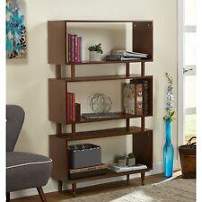 Walnut Brown Retro Mid Century Design Display Bookcase Stand Shelves Bookshelf