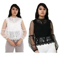 Women's Black White Long Sleeves Lace Top Round Neck Ladies Blouse Size 8 10 12
