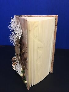 "Folded Book Art ""Deer"" Decorated ~ Unique Christmas Gift~ Hand made altered book"