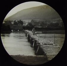 Glass Magic Lantern Slide BRIDGE AT HAUTE RIVIERE C1890 VICTORIAN PHOTO FRANCE