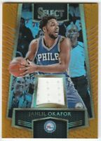 2016-17 Panini Select Swatches Orange Prizm Jahlil Okafor #34 Jersey Relic