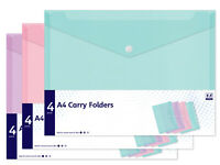 A4 Carry Folders 12 Pack Mix Colours Document Wallet Office School Stationery