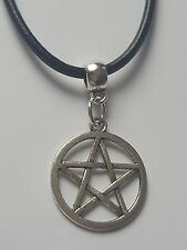PENTAGRAM TIBETAN SILVER CHARM PENDANT ON BLACK LEATHER CHOKER  NECKLACE.
