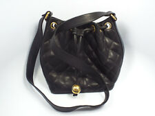 Vintage 90's Chanel Quilted Black Caviar Leather Drawstring Bucket Shoulder Bag