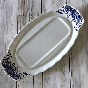 Shakespeare Country Royal Essex Ironstone Blue & White Sandwich Plate VGC