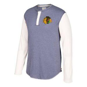 Chicago Blackhawks NHL CCM Men's  Grey Two Button Long Sleeve Henley Shirt