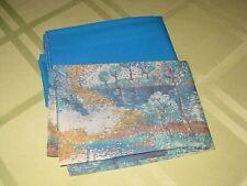 Set of 2 NWOT Men's Pocket Squares Solid Blue & Blue Tree Landscape Nylon & Poly