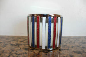 Bath and Body Works American Stripes 3 Wick Candle Holder~Red~White~Blue~America