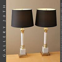 PAIR FREDERICK COOPER COLUMN MARBLE LAMPS! ROBSJOHN GIBBINGS TOMMI PARZINGER 50s