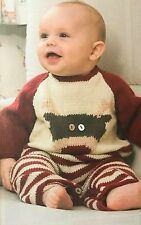KNITTING PATTERN Baby Reindeer Romper Suit Christmas Striped Bottom Sylecraft