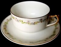 Antique Limoges Haviland hand painted Blue & Pink Daisies cup & saucer Gilted
