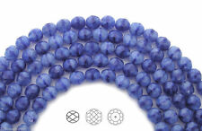 Czech Fire Polished Round Faceted Glass Beads in Blue White Givre 8mm 22pc