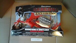 DREAMWORKS DRAGONS RACE TO THE EDGE - HOOKFANG & SNOTLOUT ARMORED DRAGON NEW V2