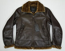 MARC NEW YORK LEATHER AVIATOR BOMBER JACKET BROWN $275.00 NWT RARE (SIZE MEDIUM)