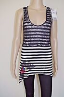 DESIGUAL sz M S? WOMENS TOP BLOUSE SHORT SLEEVES TUNIC SHIRTS SCOOP NECK STRIPED