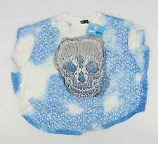Zuppe Blue Graphic Womens Mesh Skull Top Size 12 (Regular)