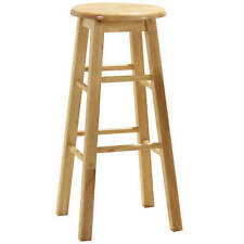 2x Natural Wood Kitchen Breakfast Bar Stool Seat Barstool