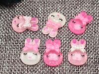 50 Mixed Pink Color Flatback Resin Crystal Bunny Rabbit Cabochons 14X20mm