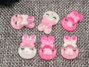 50 Mixed Pink Color Flatback Resin Crystal Bunny Rabbit Cabochons 14X20mm