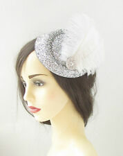 Silver White Sparkly Feather Pillbox Hat Fascinator Headpiece Burlesque Vtg 417
