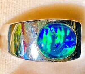 FIRE ENVY BRIGHT 100% Natural Solid Australian Black Opal Men Man Gents Ring 10