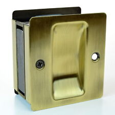 "Passage Sliding Pocket Door Lock 2.75"" x 2.5"" Antique Brass, Taymor 25-PH590AB"