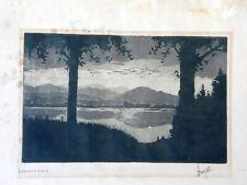 Original Woodblock Print Arts & Crafts Loveland Lake Colorado (?) Signed Lang 29
