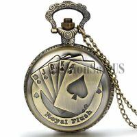 Retro Antique Royal Flush Poker Card Quartz Bronze Pocket Watch Pendant Necklace