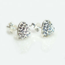 925 Sterling Silver Crystal Studded Shamballa Heart Stud Earring