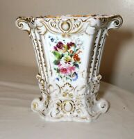 antique ornate French 19th century hand painted enameled floral porcelain vase