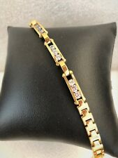 """LADIES Bracelet 7.5"""" STAINLESS STEEL GOLD PLATE CZ MOTION"""