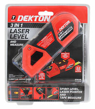 Spirit Level Laser Pointer Laser Level & Measure 3 In 1 Tape Measure Dekton NEW