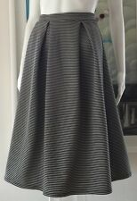 House Of Fraser Therapy Statement Black Cream Stripe Calf Length Skirt Uk 14 New
