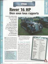 FICHE AUTOMOBILE - ROVER 16 HP 1938