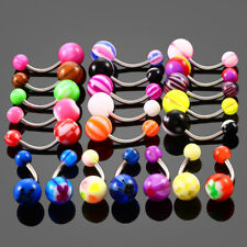 20pcs Steel Acrylic Barbell Dangle Belly Button Rings Navel Bar Piercings 14G