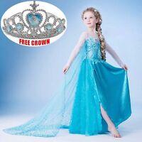 Kids Girls Disney Elsa Frozen Dress Costume Princess Anna Party Dress So Cute
