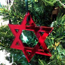 ROSSO SPECCHIO STELLA DI DAVIDE Decorazioni Albero Di Natale & verde nastro,