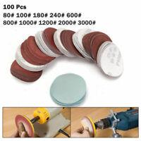 """100x 2'' 3"""" Sander Sanding Discs Pad 80-3000 Grit Hook & Loop Abrasive Sandpaper"""