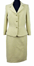 1388 Tahari Asl Womens Yellow Ivory Textured Winnie Two Piece Skirt Suit 16 $280