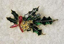 CLASSIC CHRISTMAS PIN BROOCH HOLLY BERRIES WREATH GARLAND POINSETTIA FLOWER X-16