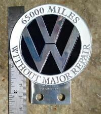 Vintage VW Volkswagen 65000 MILES Dash Plaque Grill Badge Automobilia