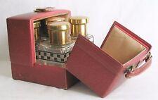 Vintage Mark Cross London Leather Travel Case w/5 Glass & Enamel Perfume Bottles