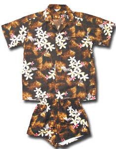 1960's Kamehameha Vintage Aloha Shirt and Trunks SET floral print Hawaiian XL