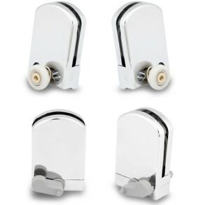 4 x Kudos Shower Door wheels and guides 2 top rollers and L+R bottom guides