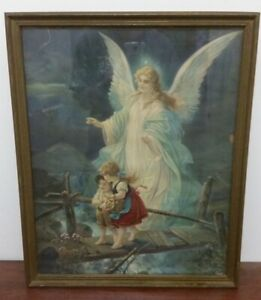 """Canvas Print Oil Painting Picture Guardian Angel Framed-glass (approx. 20""""x24"""")"""
