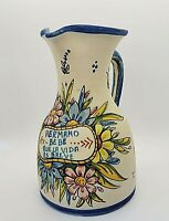 """Quismondo Toledo Signed Handcrafted Pottery Art 9"""" Water Pitcher Made in Spain"""