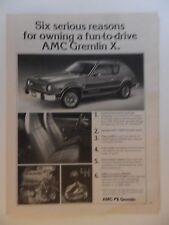 1976 Print Ad AMC Gremlin X Hatchback Car Automobile ~ Six Serious Reasons