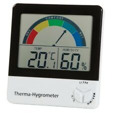 All in one thermometer and humidity meter with comfort zone indication